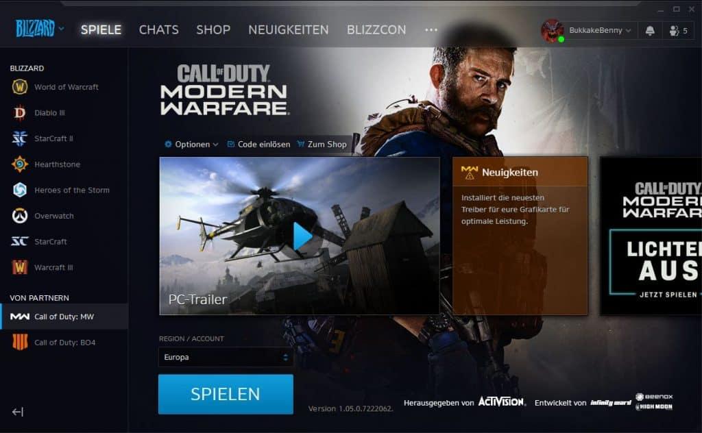 cod modern warefare launcher battle.net